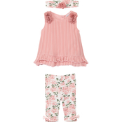 Nicole Miller Infant Girls Chiffon Top and Capri Pants 2 pc. Set with Headband