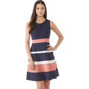 Connected Apparel Color Block Fit and Flare Dress