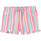 Carter's Toddler Girls Striped Pull On Twill Shorts