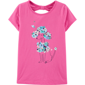 Carter's Little Girls Floral Poodle Bow Back Jersey Tee
