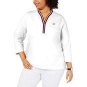 Tommy Hilfiger Plus Size Y Neck Global Stripe Trim Top