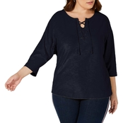 Tommy Hilfiger Plus Size Lace Shoulder Knit Top