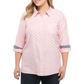 Tommy Hilfiger Plus Size Oxford Roll Tab Shirt