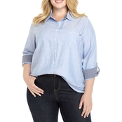 Tommy Hilfiger Plus Size Oxford Dot Roll Tab Shirt