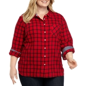 Tommy Hilfiger Plus Size Window Pane Roll Tab Shirt