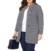 Tommy Hilfiger Plus Size Stripe Knit Jacket