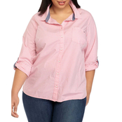 Tommy Hilfiger Plus Size Gingham Roll Tab Shirt