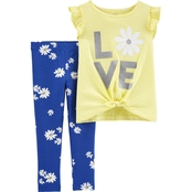 Carter's Toddler Girls 2 pc. Love Flutter Tie Front Tee and Floral Leggings Set