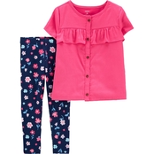 Carter's Toddler Girls 2 pc. Button Front Sateen Top and Floral Leggings Set