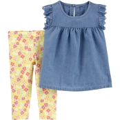 Carter's Toddler Girls 2 pc. Chambray Top and Floral Leggings Set