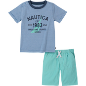 Nautica Infant Boys 2 pc. Navy Logo Tee Set