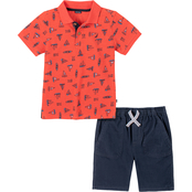 Nautica Infant Boys Sailboat Polo Shirt and Shorts 2 pc. Set