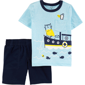 Carter's Infant Boys 2 pc. Boat Snow Yarn Tee and Poplin Shorts Set