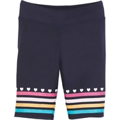 Pony Tails Girls Peacock Solid Bike Shorts with Print