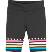 Pony Tails Girls Honeysuckle Solid Bike Shorts with Print