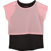 Pony Tails Girls Fairy Tale Active Mesh Overlay Black Tank Top