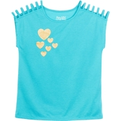 Pony Tails Girls Shoulder Strap Peacock Hearts Active Tee