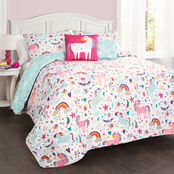 Lush Decor Unicorn Heart 5 pc. Quilt Set