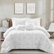 Lush Decor Trio Geo Metallic Print 5 pc. Comforter Set
