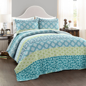 Lush Decor Bohemian Stripe 3 pc. Quilt Set