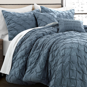 Lush Decor Ravello Stormy Blue 5 pc. Pintuck Comforter Set