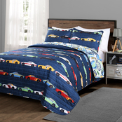 Lush Decor Race Cars Quilt Navy 3 pc, Set