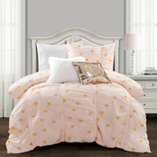 Lush Decor 3 pc. Distressed Metallic Heart Print Comforter Set