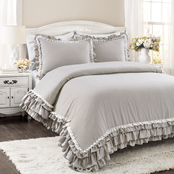 Lush Decor Ella Shabby Chic Ruffle Lace 3 pc. Comforter Set