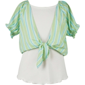 Speechless Girls Stripe Tie Front Top