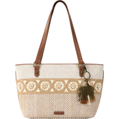 Sakroots Ellis Tobacco Batik World Small Straw Satchel