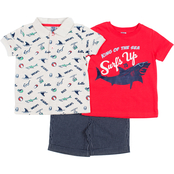Little Lads Toddler Boys 3 pc. Surf's Up Polo Shirt Set