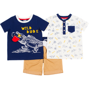 Little Lads Toddler  Boys 3 pc. Wild Dude Henley Tee and Shorts Set
