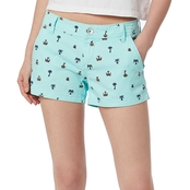 Unionbay Juniors Anika 3.5 in. Palm Tree Print Chino Shorts