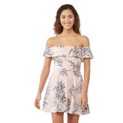 Speechless Scuba Off Shoulder Skater Dress