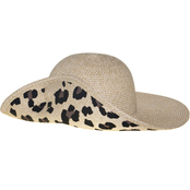 Nine West Natural Heather/Leopard Printed Floppy Hat