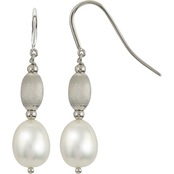Imperial Sterling Silver Bead and Cultured Freshwater Pearl Drop Earrings