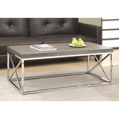 Chelsea Home Wilson Dark Taupe and Chrome Coffee Table