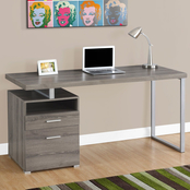 Chelsea Home Webster Dark Taupe and Silver Computer Desk