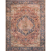 Loloi Layla Printed Persian Style Rug, Red / Blue