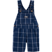 OshKosh B'gosh Infant Boys Shortalls Navy Windowpane