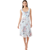 Connected Apparel Floral Pleat Chiffon Dress
