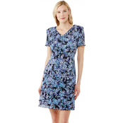 Connected Apparel Ditsy Floral Tiered A-Line Dress