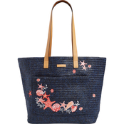Vera Bradley Straw Pocket Tote, Navy Sea Life