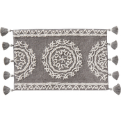 Medallia Small Rug with Fringe in Gray