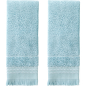 Saturday Knight LTD Jude Fringe Jacquard 2 pc. Hand Towel Set, Aqua