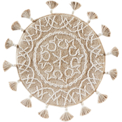 Saturday Knight Medallia Round 26 in. Diameter Rug with Fringe