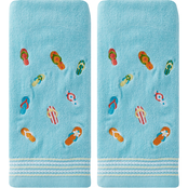 Saturday Knight LTD Flips and Flops 2 pc. Hand Towel Set, Blue