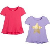 Pony Tails Little Girls Star and Solid Tee 2 pk.