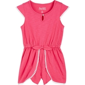 Pony Tails Little Girls Magenta Knit Romper with Trim