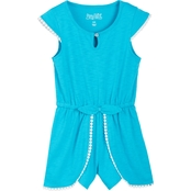 Pony Tails Little Girls Knit Romper with Trim